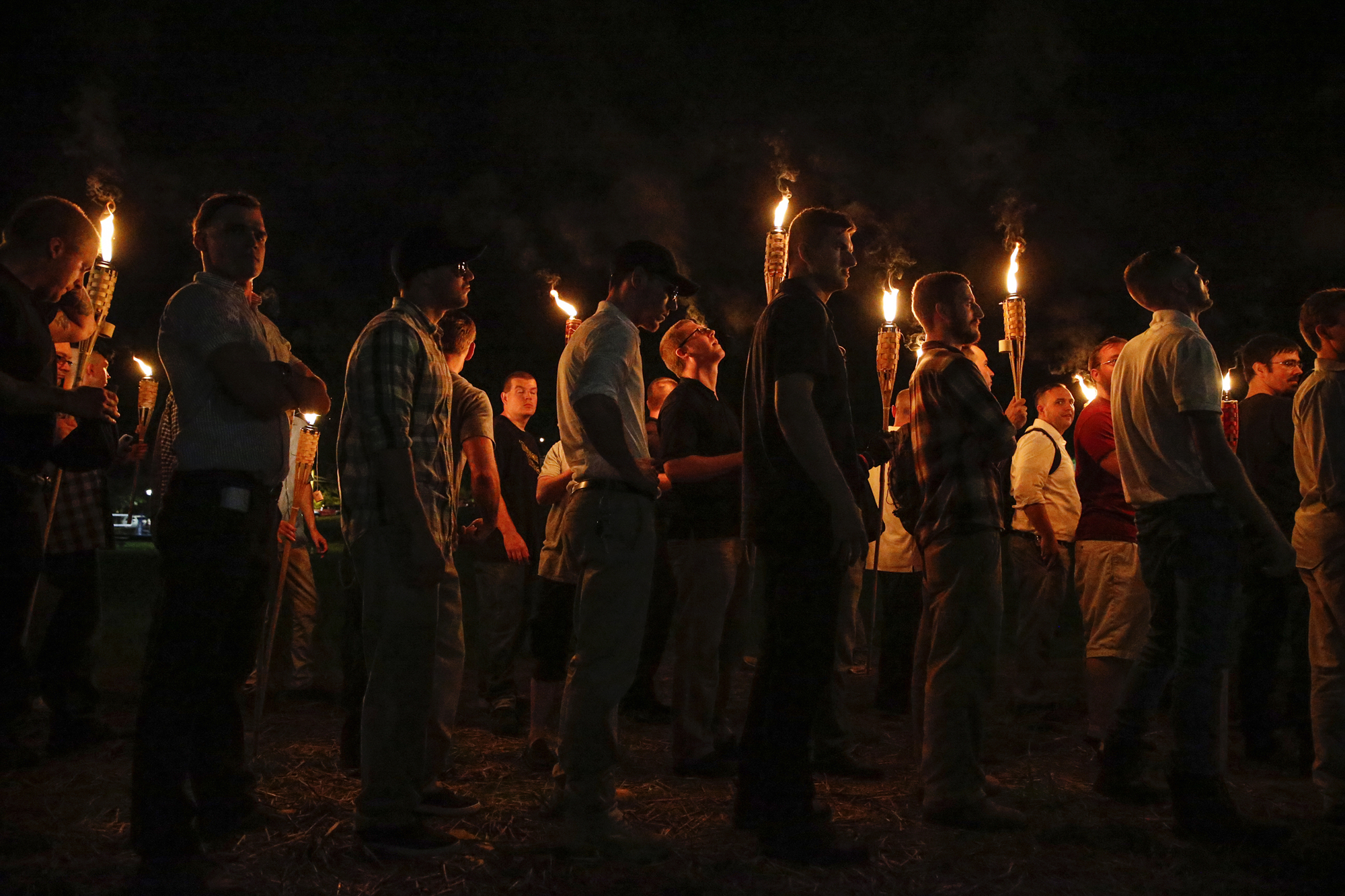 "Multiple white nationalist groups march with torches through the UVA campus in Charlottesville on Friday, August 11, 2017. When met by counter protesters, some yelling ""Black lives matter,"" tempers turned into violence. Multiple punches were thrown, pepper spray was sprayed and torches were used as weapons. .Mandatory Credit: Mykal McEldowney/IndyStar via USA TODAY NETWORK"