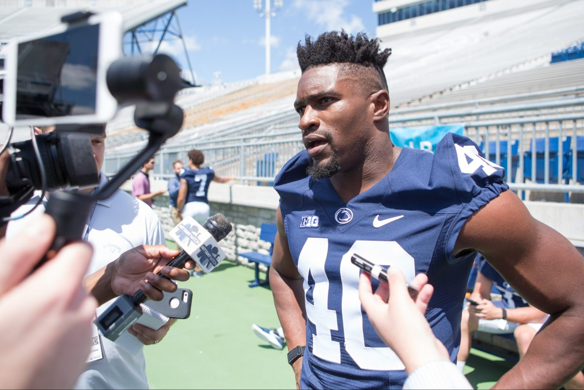 Jason Cabinda answers questions during media day at Penn State on Aug. 5.