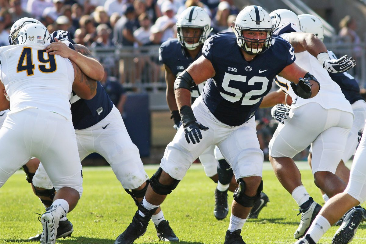 Penn State offensive lineman Ryan Bates (52) playing against Kent State last September.
