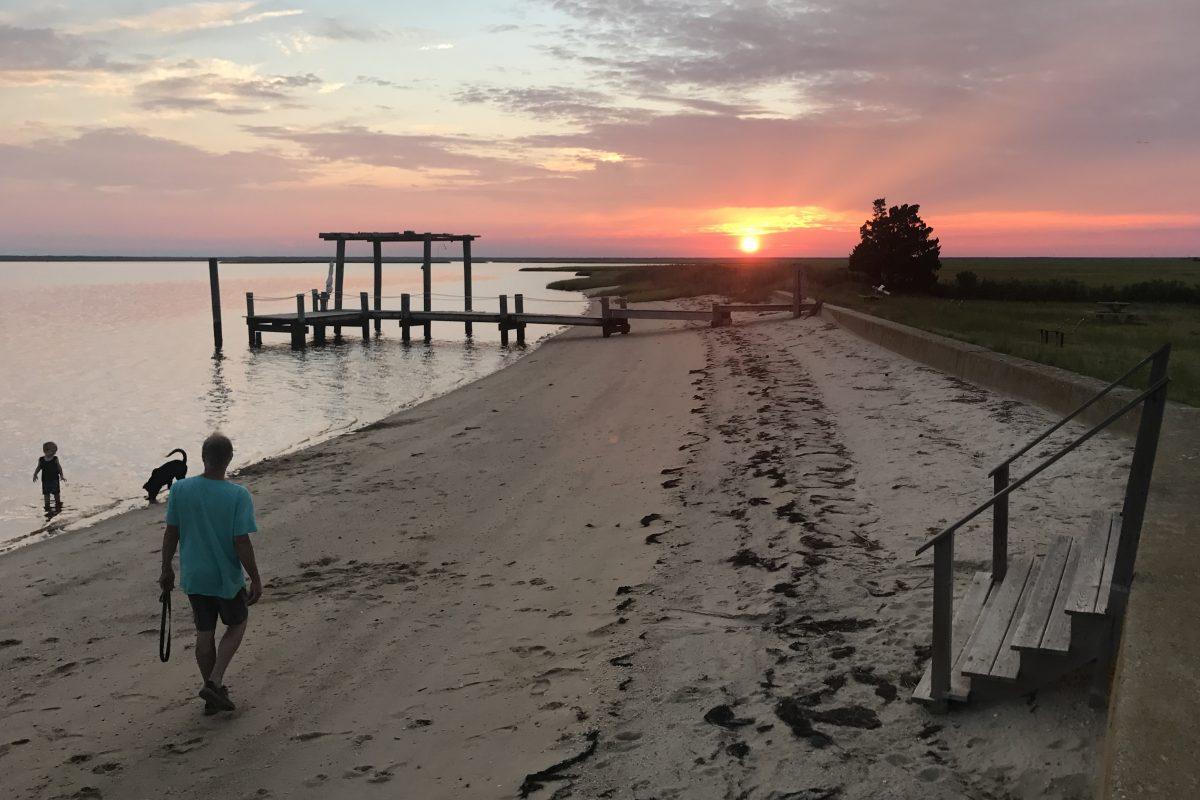 Sunset over Morris Beach, a hidden slice of Jersey Shore heaven in Egg Harbor Township.