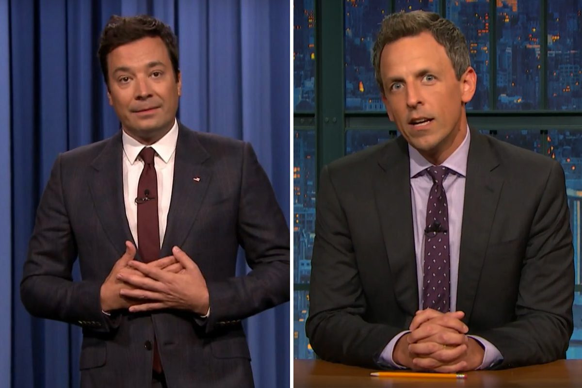 Both Jimmy Fallon (left) and Seth Meyers came out strong against President Trump's muted response to racial violence in Charlottesville, Va., over the weekend.