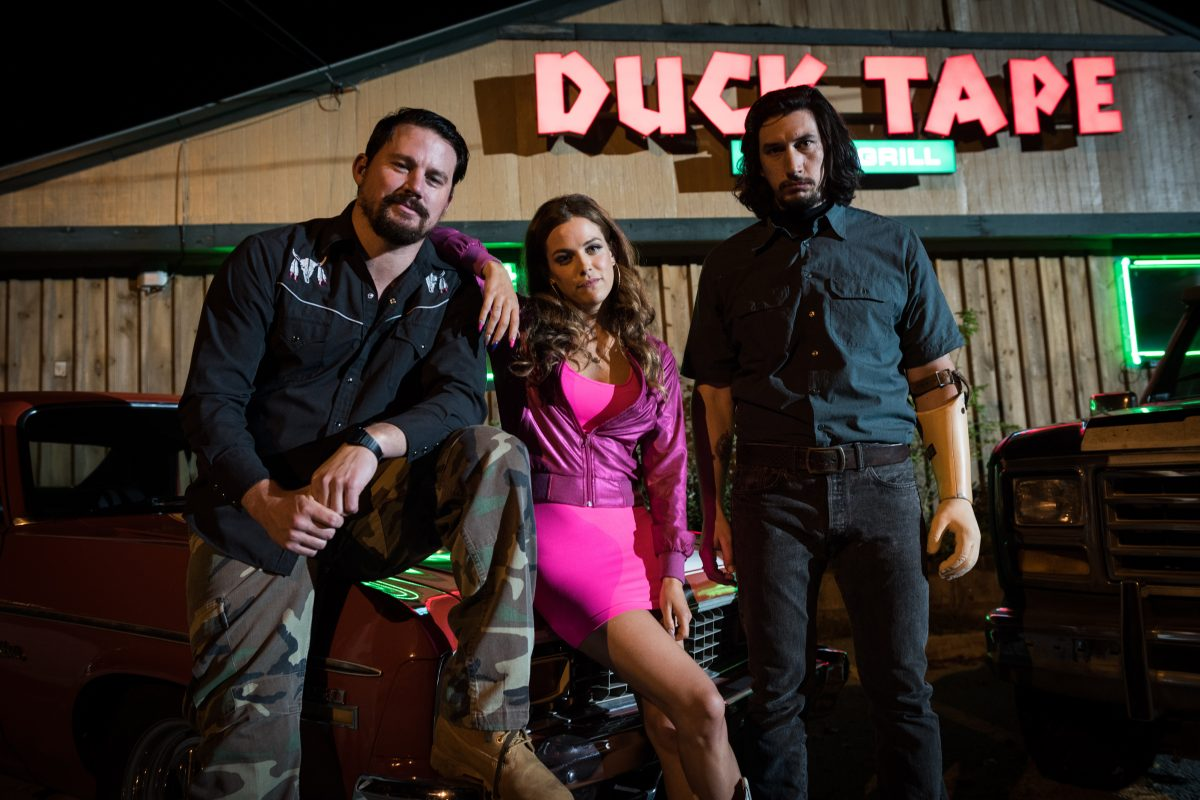 "Channing Tatum (left), Riley Keough, and Adam Driver star in ""Logan Lucky."""