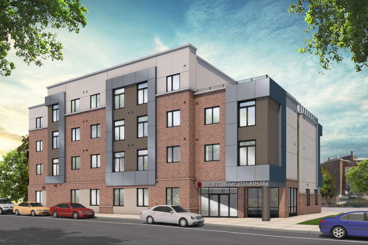 An LGBTQ-friendly affordable housing project planned by Project Home near Girard Medical Center, shown here in an architectural rendering is in jeopardy because the bankrupt North Philadelphia Health System is hesitating to go through with sales agreements reached before the bankruptcy.