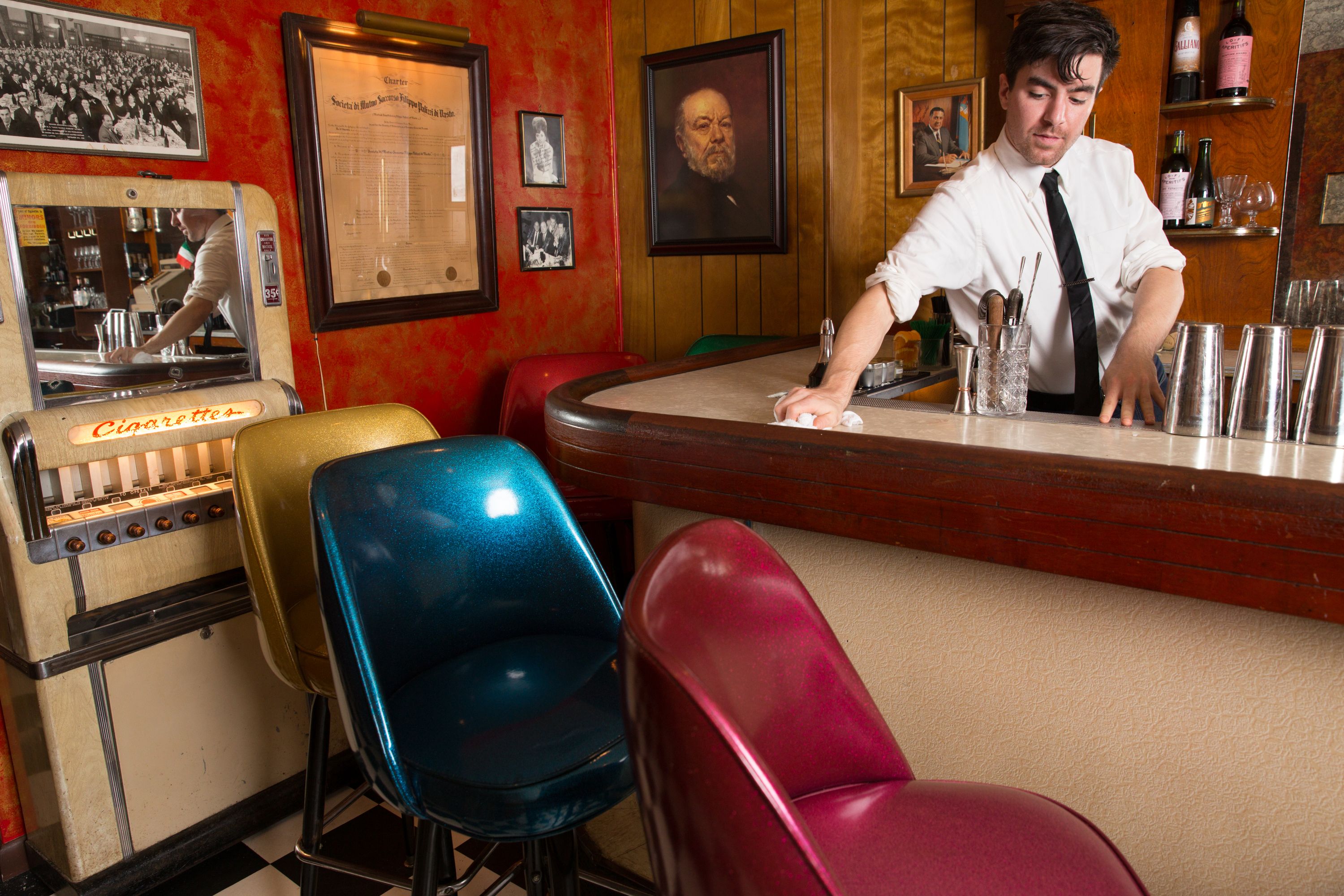 Bar manager Max Sherman mixes drinks at the Palizzi Social Club, 1408 South 12th St, in Philadelphia, Thursday, June 8, 2017.