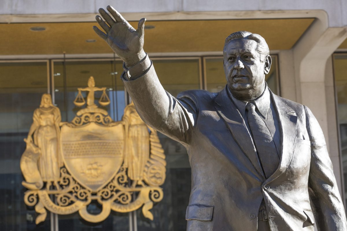 Some people want to remove this statue of the late Philadelphia Mayor Frank Rizzo, who also served as the city's police commissioner, from outside the Municipal Services Building in Philadelphia.