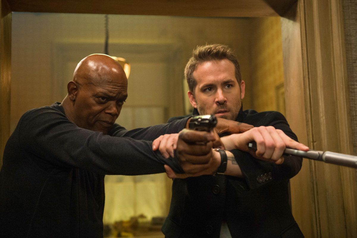 """Samuel L Jackson as the unpredictable assassin and Ryan Reynolds (right) as the security pro in the comedy-action flick """"Hitman's Bodyguard."""""""