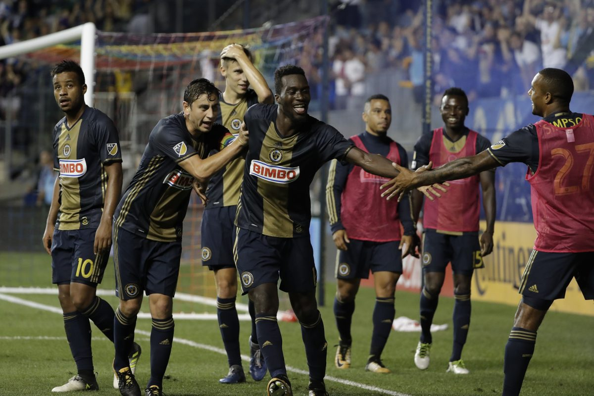 Union's CJ Sapong celebrates goal against Columbus.