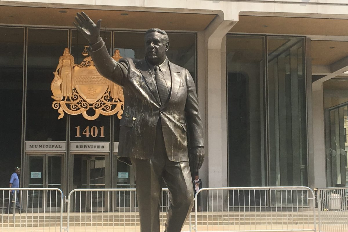 Statue of former Mayor Frank Rizzo egged on August 16.
