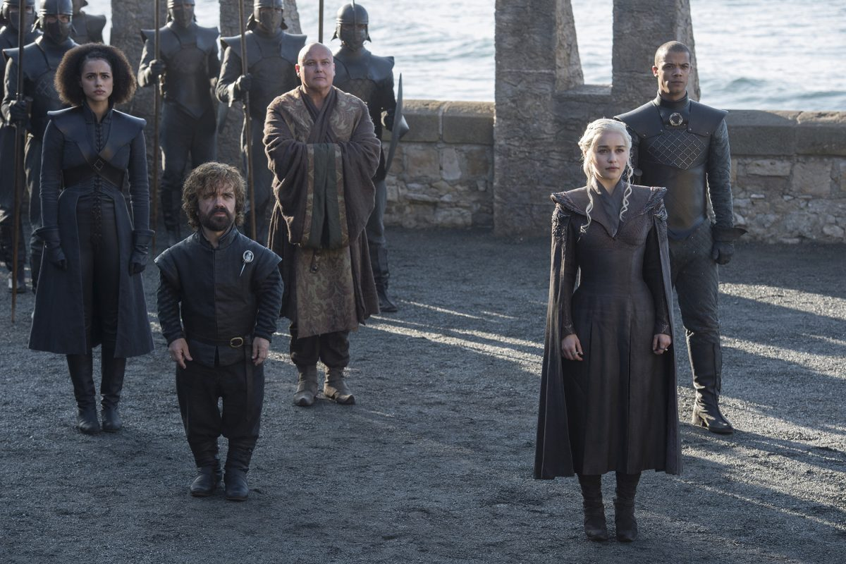 """Game of Thrones"" stars (from left) Nathalie Emmanuel, Peter Dinklage, Conleth Hill, Emilia Clarke, and Jacob Anderson in Season 7 on HBO."