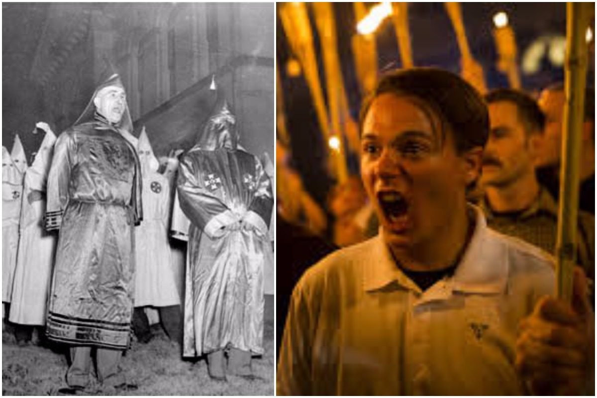 On the left is a historical photo of KKK members. On the right is a photo of 20-year-old Peter Cvjetanovic shouting during the deadly rally in Charlottesville.