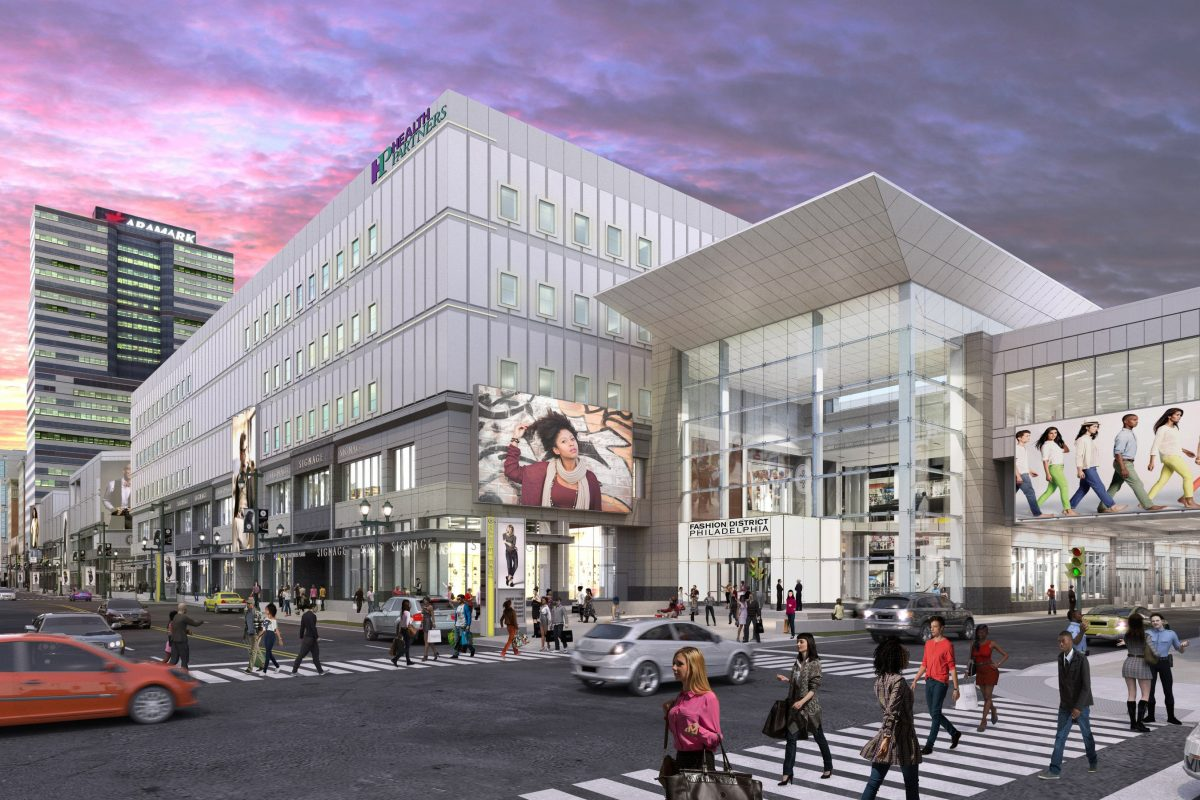 Artist's rendering of redeveloped Gallery at Market East shopping mall, with Fashion District Philadelphia signage.