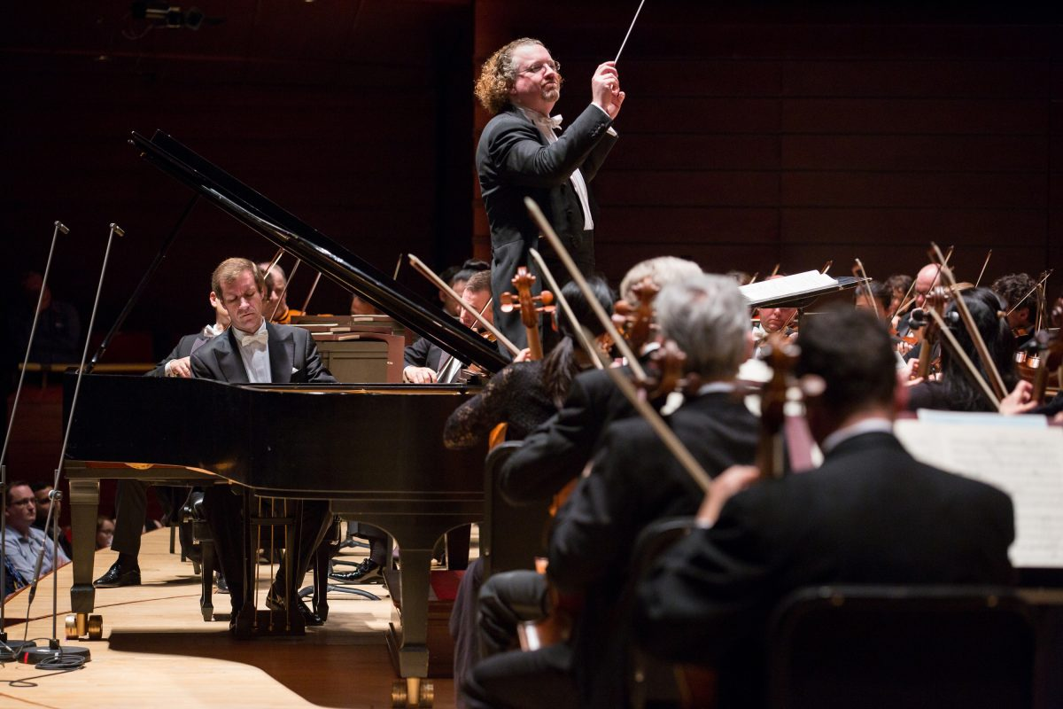 The Philadelphia Orchestra performing in Verizon Hall during last season's Rachmaninoff Festival with pianist Nikolai Lugansky and conductor Stéphane Denève.