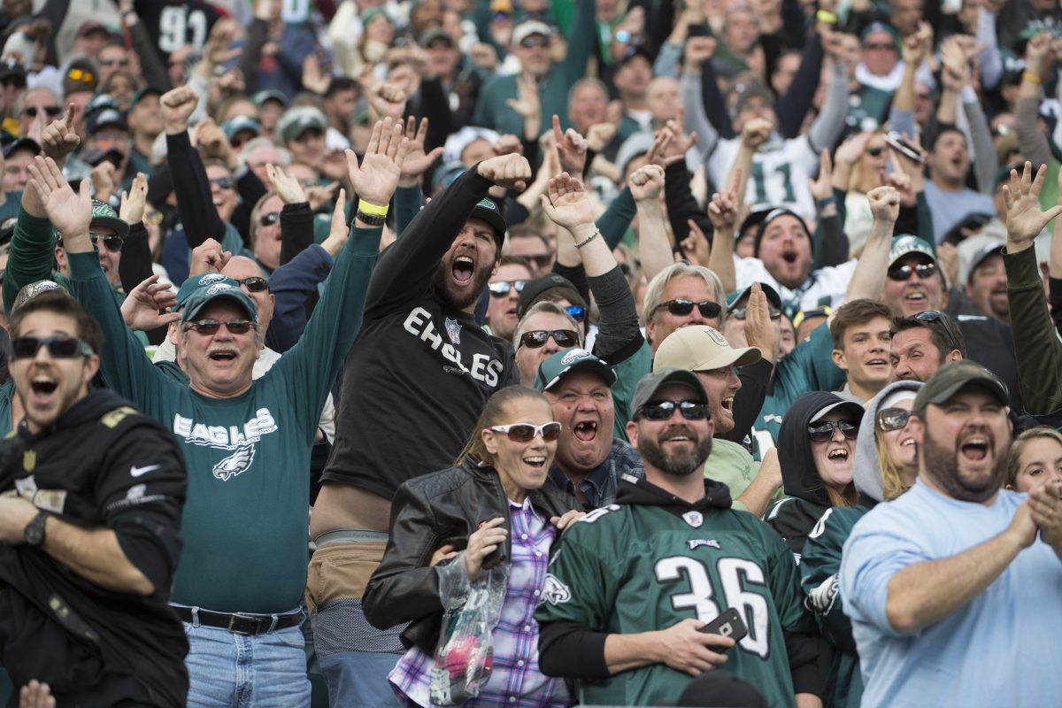 Eagles fans cheer during a game, but the team's fan experience didn't get high marks.