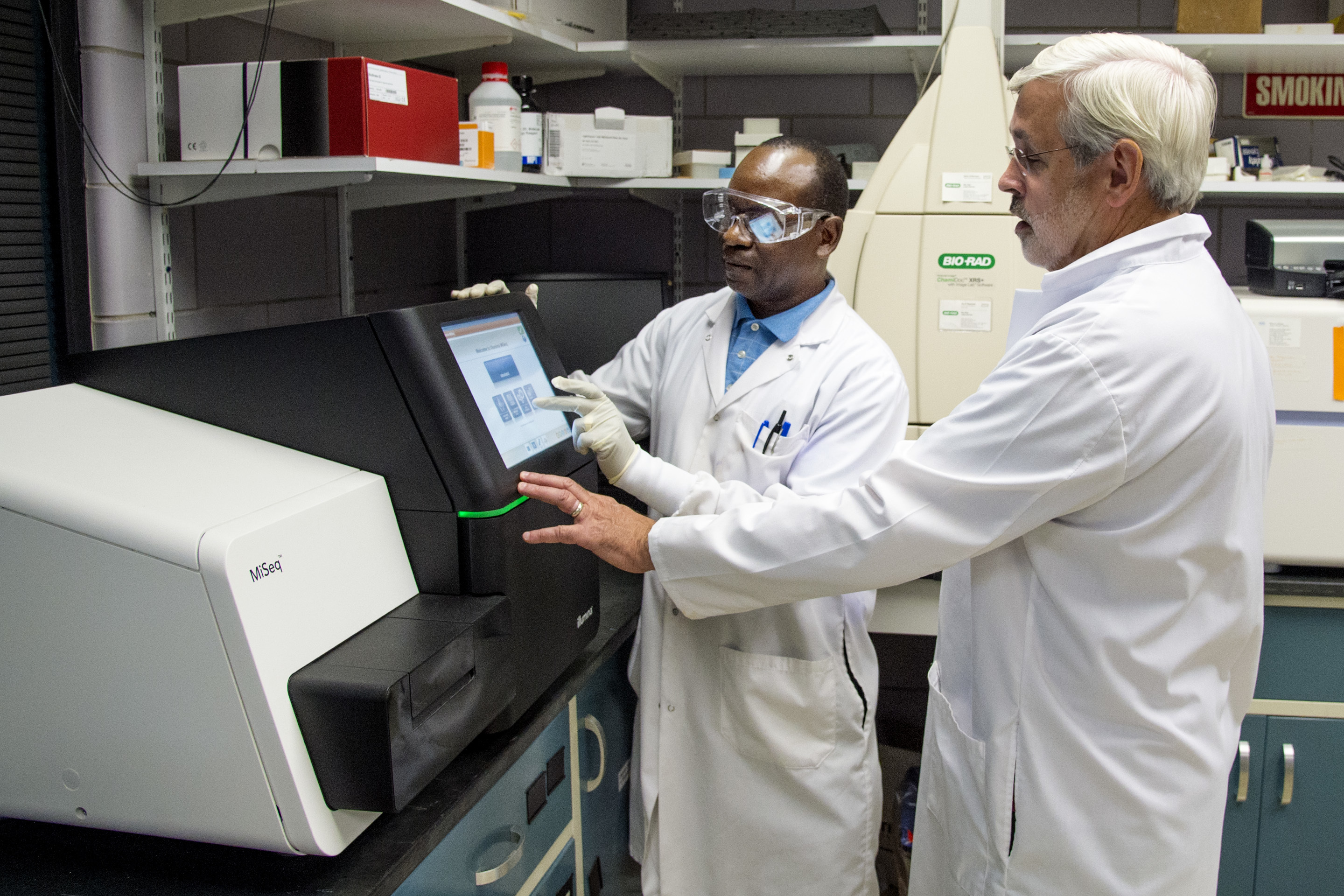LeChevallier, Dr. Water — (right) vice president and chief environmental officer for American Water Works Company, Inc., and Dr. Patrick JJemba (cq), a microbiologist, work at a microbial sequencer at the treatment plant in Delran August 15, 2017. The sequencer identifies the DNA of all the waste water microbes in the water to ensure proper cleaning before distribution. A Super Computer is required to crunch the information. CLEM MURRAY / Staff Photographer