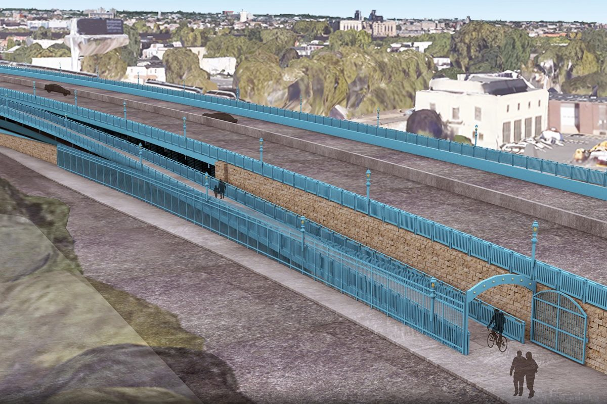Rendering of planned ramp onto the Benjamin Franklin Bridge walkway.