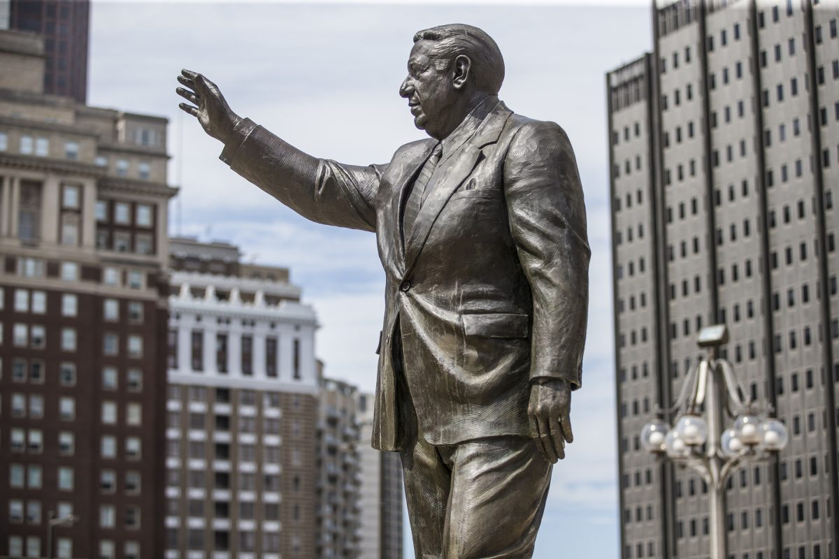 Statue of former Philadelphia Mayor Frank Rizzo outside the Municipal Services Building across from City Hall.