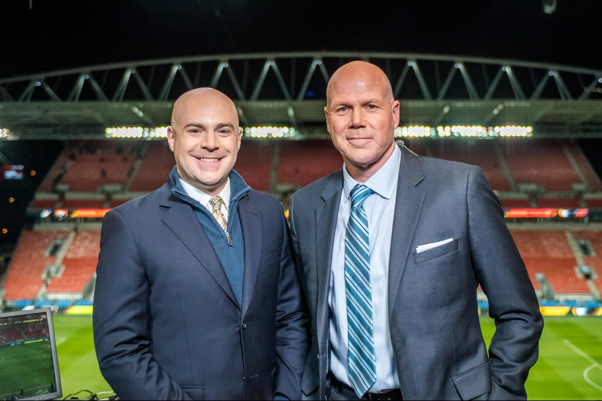 John Strong (left) will call Sunday's Seattle Sounders vs. Portland Timbers game on Fox Sports 1 with Brad Friedel (right).