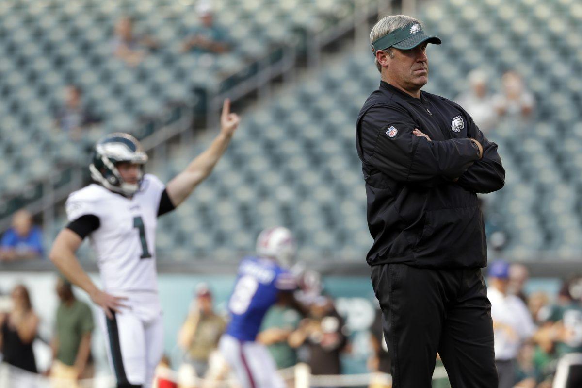 Philadelphia Eagles head coach Doug Pederson watches before an NFL preseason football game against the Buffalo Bills, Thursday, Aug. 17, 2017, in Philadelphia.