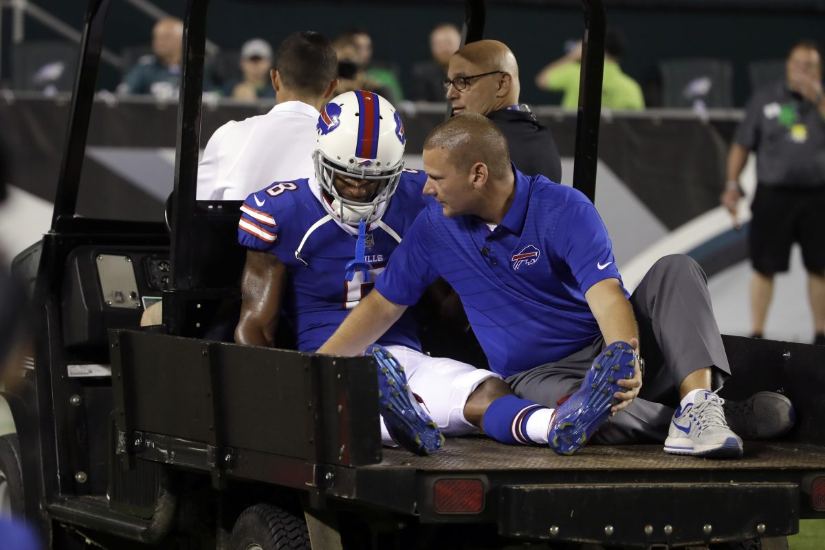 Bills Rod Streater is helped off the field during the second half of an NFL preseason football game against the Eagles on Thursday.
