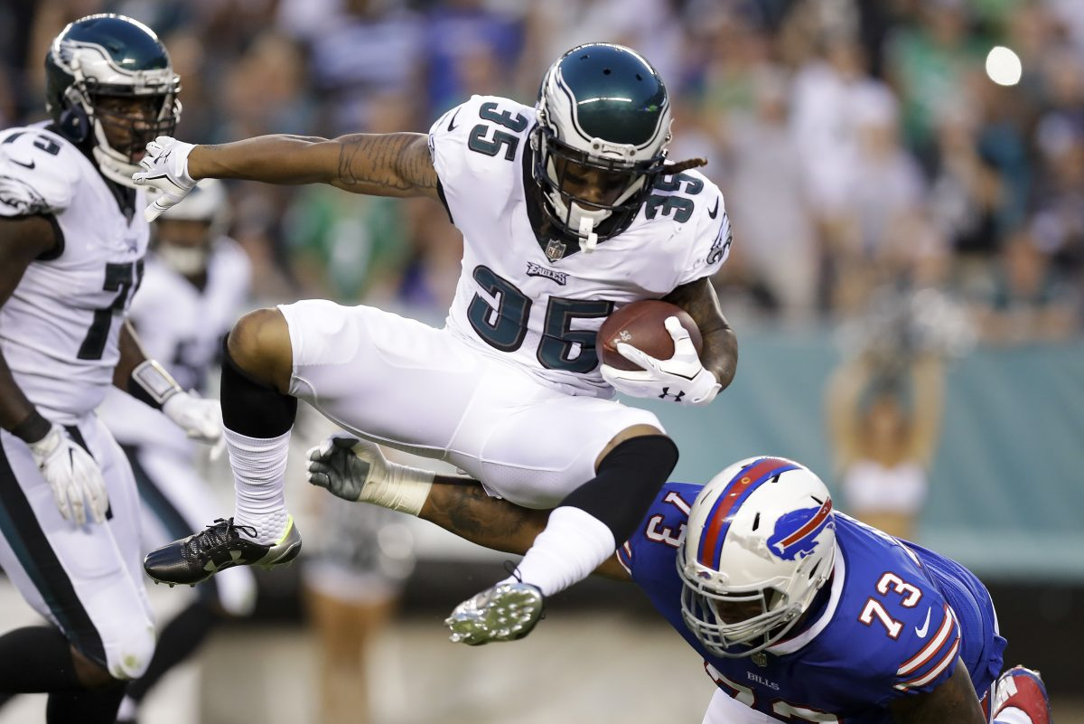 New Eagles cornerback Ronald Darby hurdles Bills tackle and former Temple Owl Dion Dawkins during the first-quarter of the Eagles 20-16 preseason win over the Bills on Thursday.