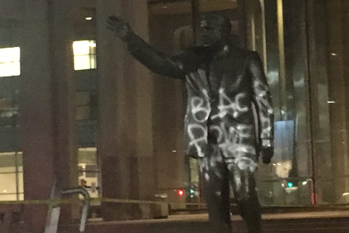 The Frank Rizzo statue at Thomas Paine Plaza was defaced late Thursday.