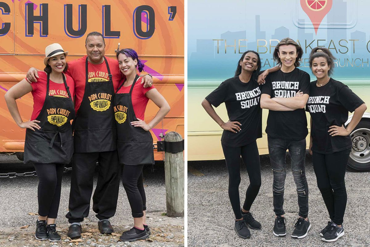 """""""The Great Food Truck Race"""" on the Food Network includes two teams from the Philadelphia area. At left: Sarah Hasbun, Luis Lara Polanco, Carleena Lara-Bregatta of Papi Chulo's Empanadas. At right: The Breakfast Club features Ashanti Dixon (left), Mikey Robins, and Taylor Randolph."""