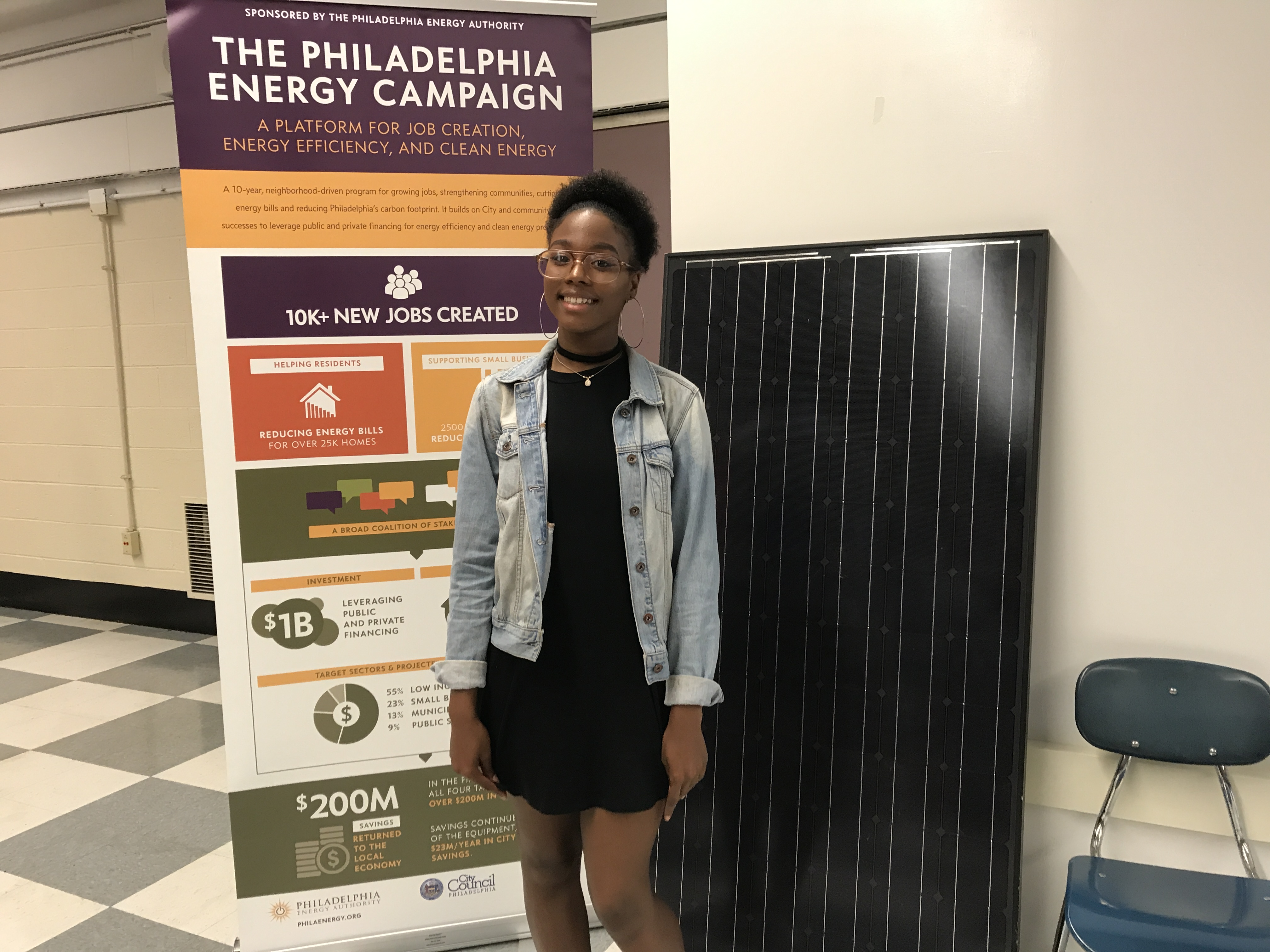 Angel Ollison, 17, one of 18 students completing the Philadelphia School District´s first solar training program.