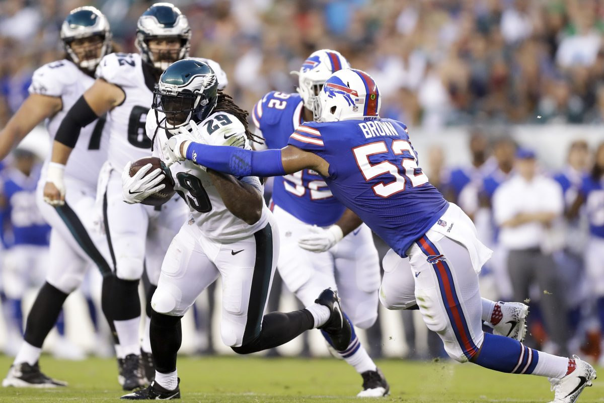 Eagles running back LeGarrette Blount looks for yardage against the Bills.