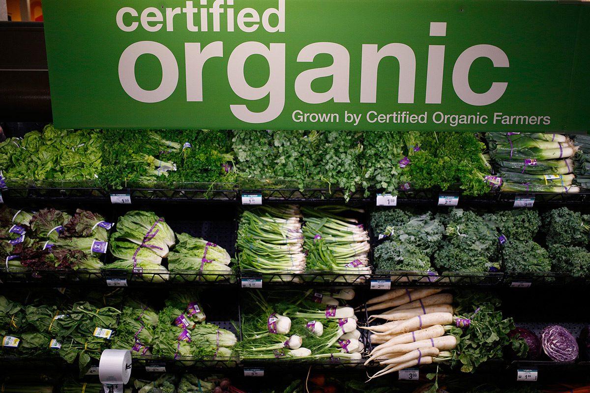 Certified organic produce on sale at a Kroger grocery store in Louisville, Kentucky, on June 14, 2017.