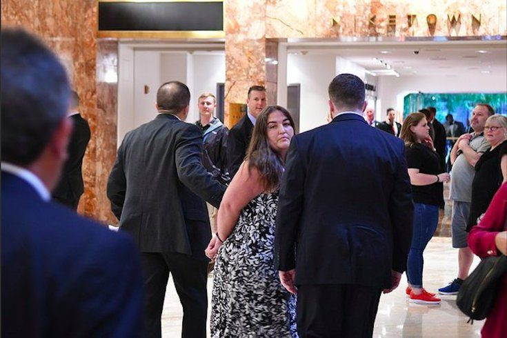 Melissa Byrne being detained at Trump Tower on Aug. 15.