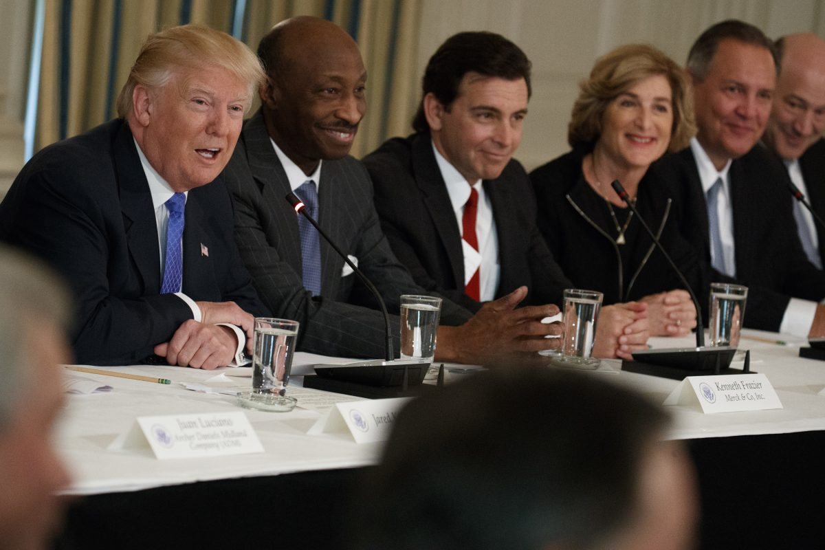 President Trump speaks during a meeting with manufacturing executives at the White House in Washington,  on Feb. 23. From left are: Trump; Merck CEO Kenneth Frazier; then-Ford CEO Mark Fields; Campbell Soup CEO Denise Morrison; United Technologies Corp. CEO Greg Hayes; and director of the National Economic Council Gary Cohn. Frazier was the first to resign. Morrison stepped down Wednesday. (AP Photo/Evan Vucci)