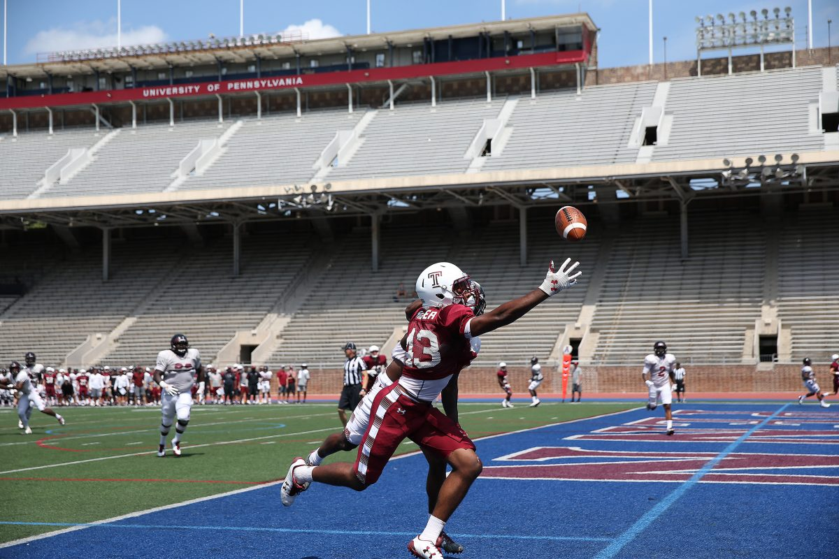 Temple's Isaiah Wright reaches for a ball in the end zone as Temple University football holds a scrimmage at Franklin Field in Philadelphia, PA on Saturday.