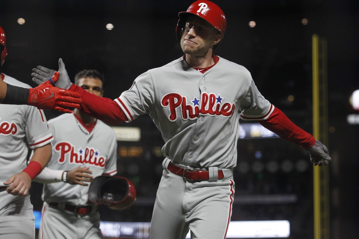 Ty Kelly celebrates his sixth-inning grand slam in the Phillies' 12-9 win over San Francisco.
