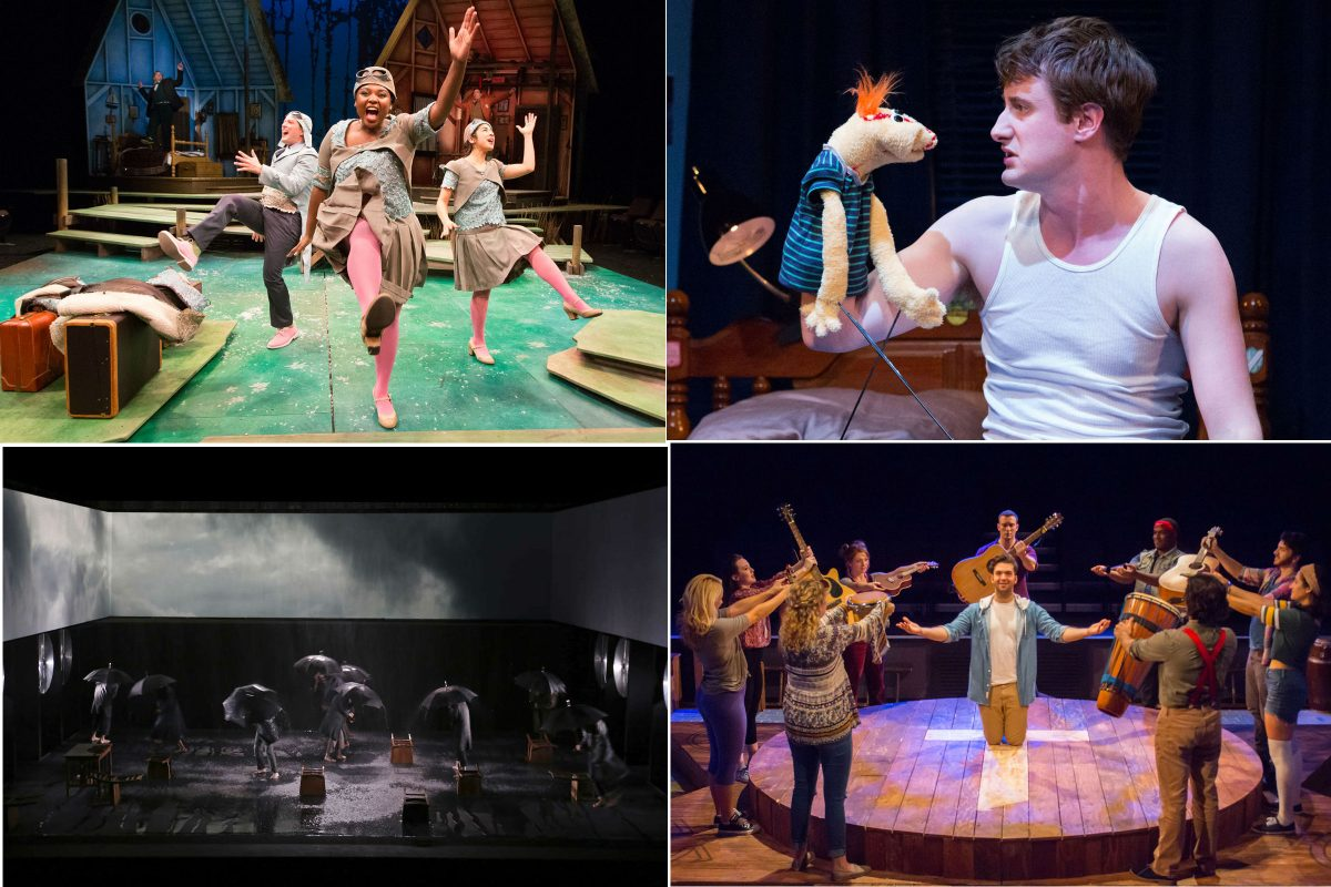 "Barrymore-nominated shows (clockwise from upper left:) ""A Year with Frog and Toad"" (Arden Theatre Company); ""Hand to God"" (Philadelphia Theatre Company); ""Godspell"" (Eagle Theatre); and ""How to Use a Knife"" (InterAct Theatre Company)."