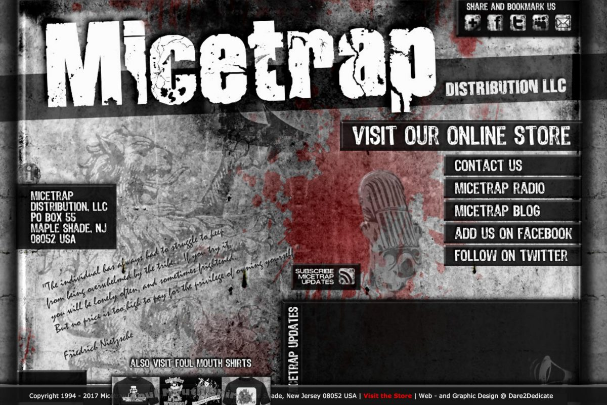 The homepage of Micetrap.net a site that sells Nazi, far right wing and other hate materials. Steven Wiegand runs the site and company, Micetrap Distribution LLC.