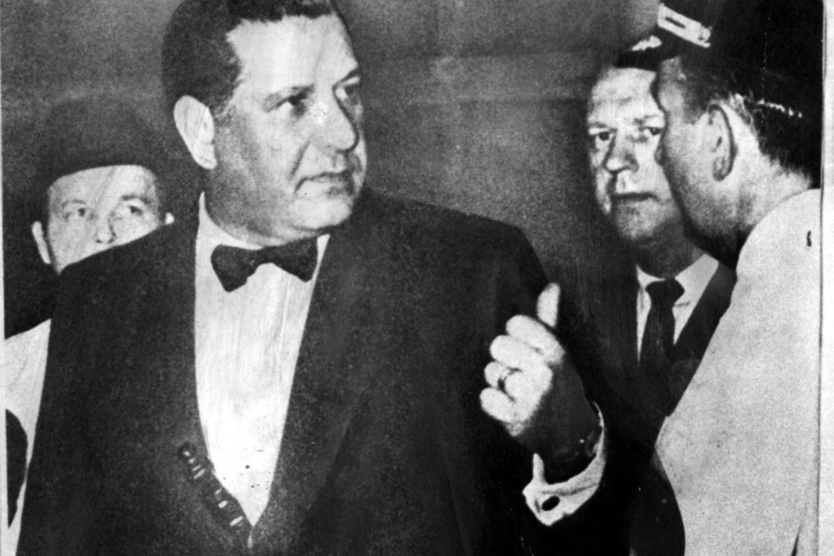 One of Philadelphia history's most iconic shots: Commissioner Frank Rizzo, giving orders in tuxedo, with nightstick in cummerbund, in 1969.