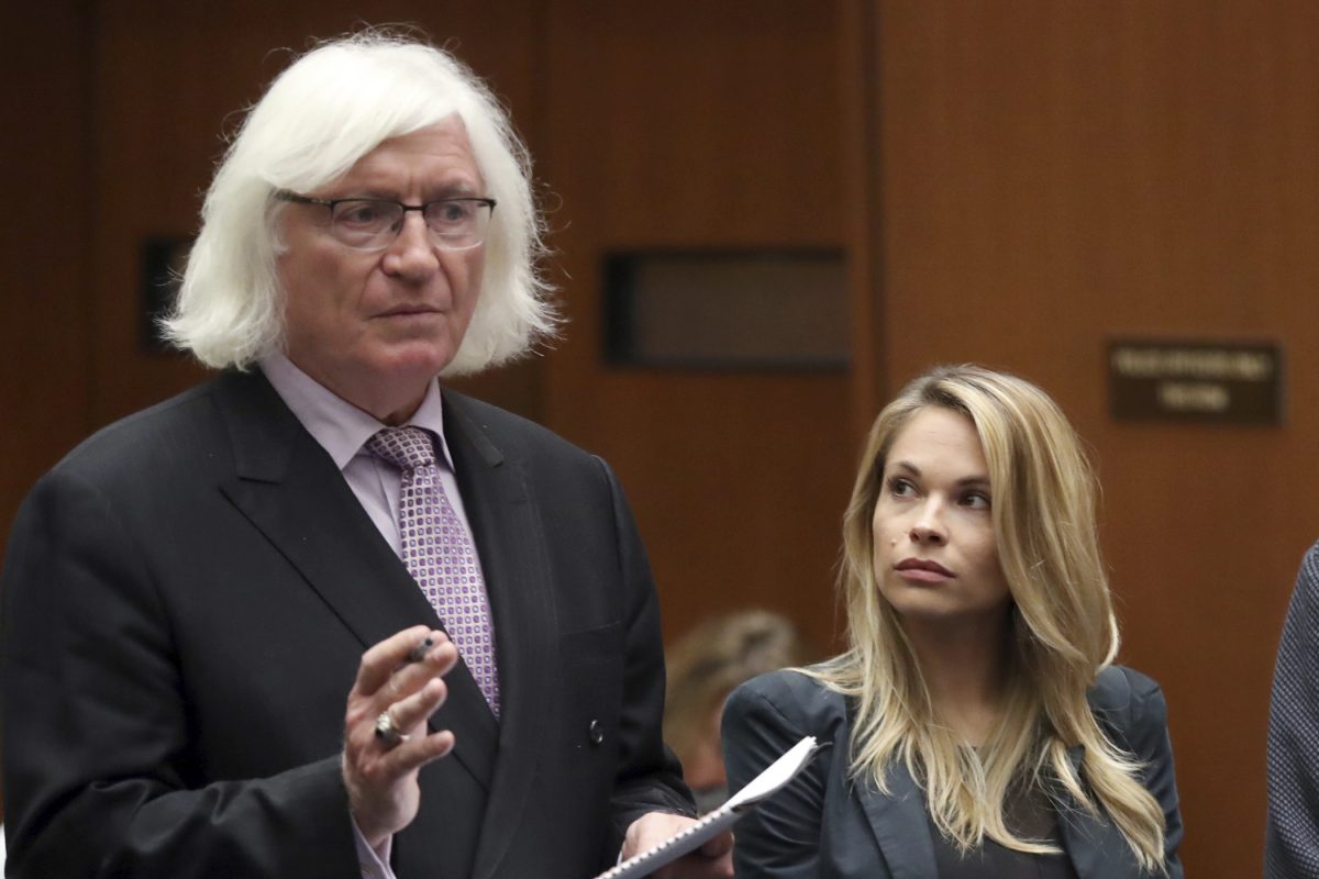 """Attorney Tom Mesereau, left, has signed on to defend Bill Cosby at his Nov. 6 sexual assault retrial, a spokesman for the entertainer said. Mesereau is pictured here at a May 24 court appearance in Los Angeles for model and Playboy bunny Danielle """"Dani"""" Mathers, who was  charged with taking a photo of a naked, 71-year-old woman in a gym locker room and posting it on social media with insults about the woman's body."""