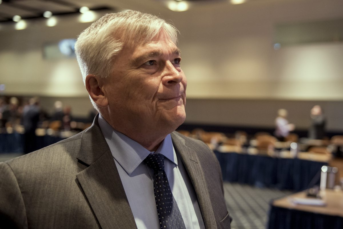 Penn State University President Eric Barron pauses while addressing the death of Timothy Piazza, the charges filed against members of the Beta Theta Pi fraternity, and the future of Greek life at Penn State on May 5, 2017 at the Penn Stater Hotel and Conference Center in State College.