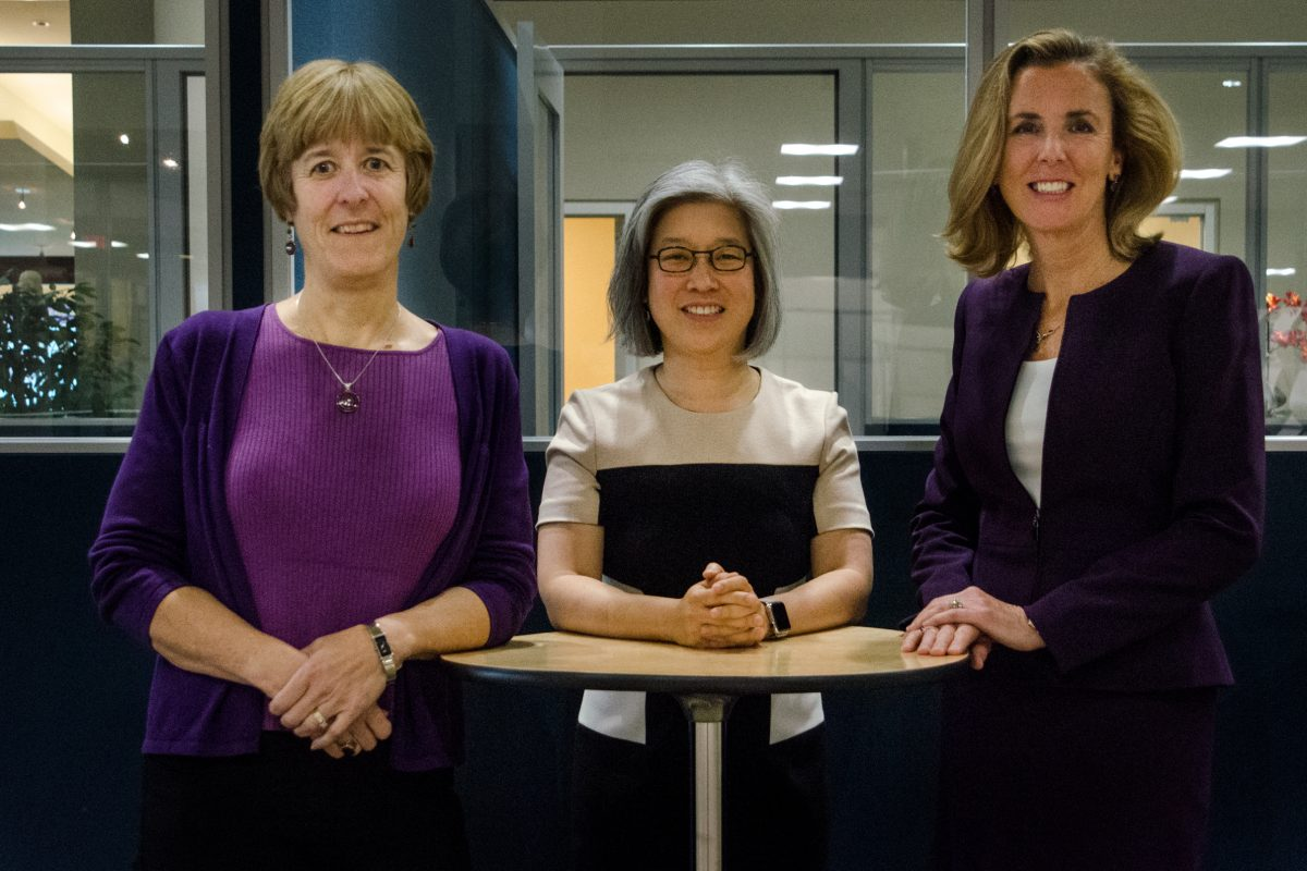 Jane Holmes Hollingsworth, Joan Lau, and Katie McGinty (left to right) in their Militia Hill Ventures office at 3001 Market St. McGinty was recently appointed a partner and works closely with Hollingsworth and Lau, who are the founding managing partners of the company.