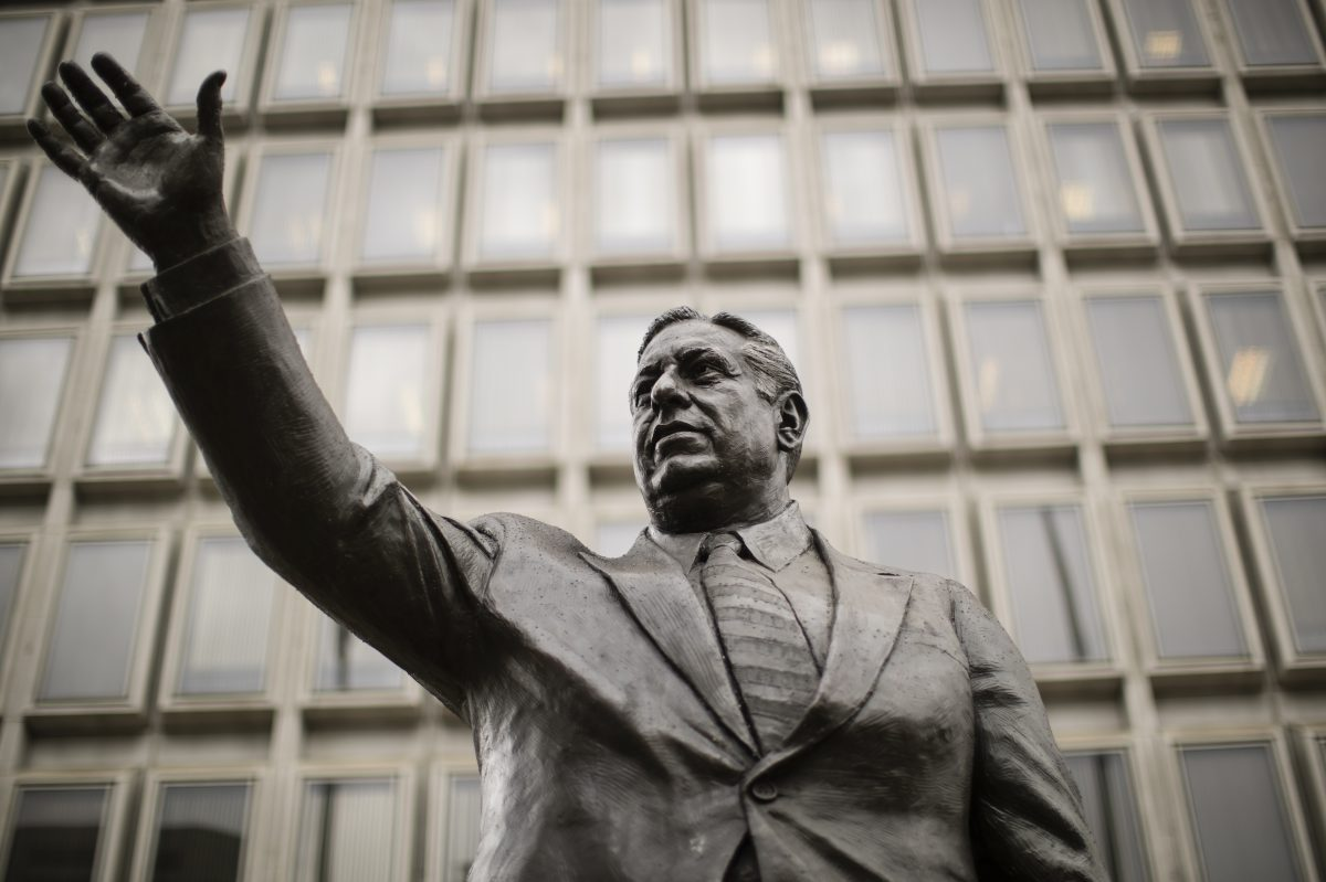 Some people want to remove this statue of the late Mayor Frank L. Rizzo from outside the Municipal Services Building.
