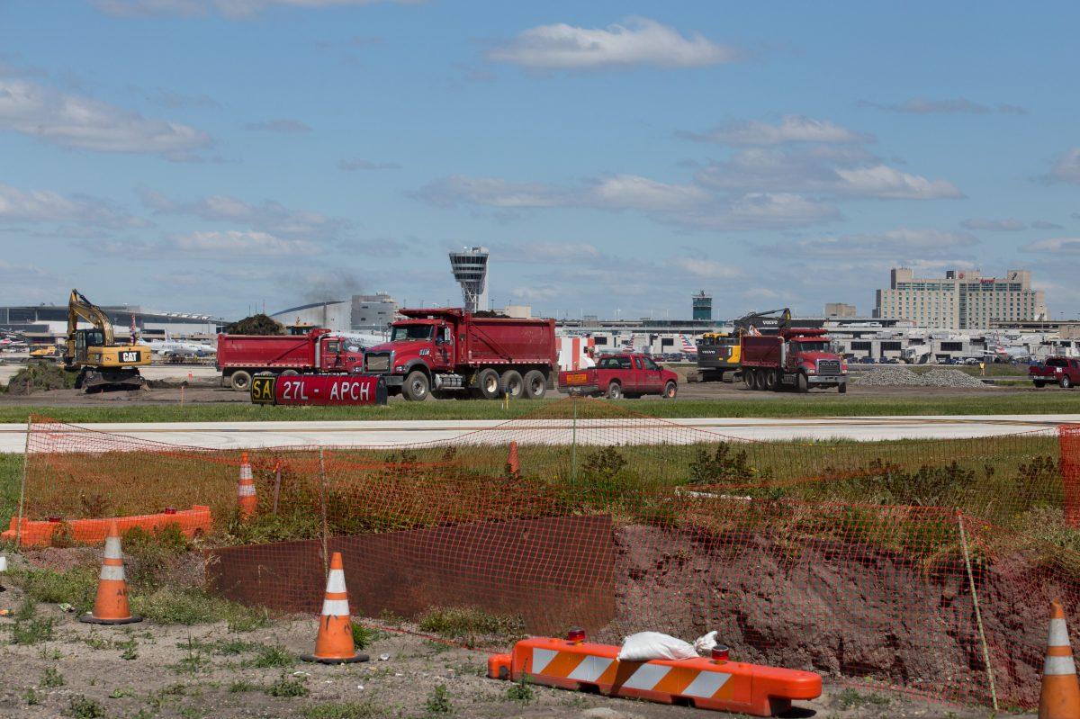 Runway extension at Philadelphia International Airport in May 2017.
