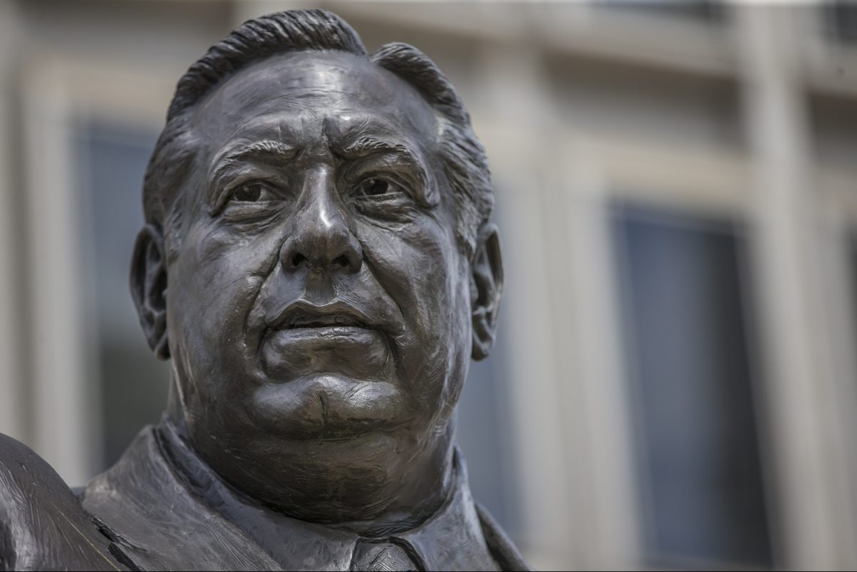 Statue of former Mayor Frank Rizzo on Thomas Paine Plaza at the Municipal Services Building, across from City Hall. Activists want the statue relocated.