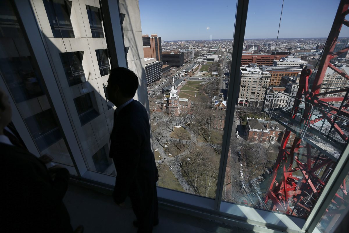 A view from the 23rd floor at 500 Walnut Street in Philadelphia in March. The condo tower is highly sought after for its views of Independence Hall.