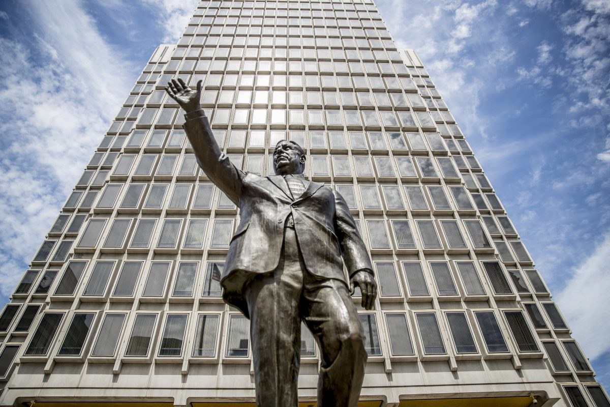 The statue of former mayor Frank Rizzo stands in the Thomas Paine Plaza in front of the Municipal Services Building, across from City Hall. There is now a movement to have the statue removed to a different location.