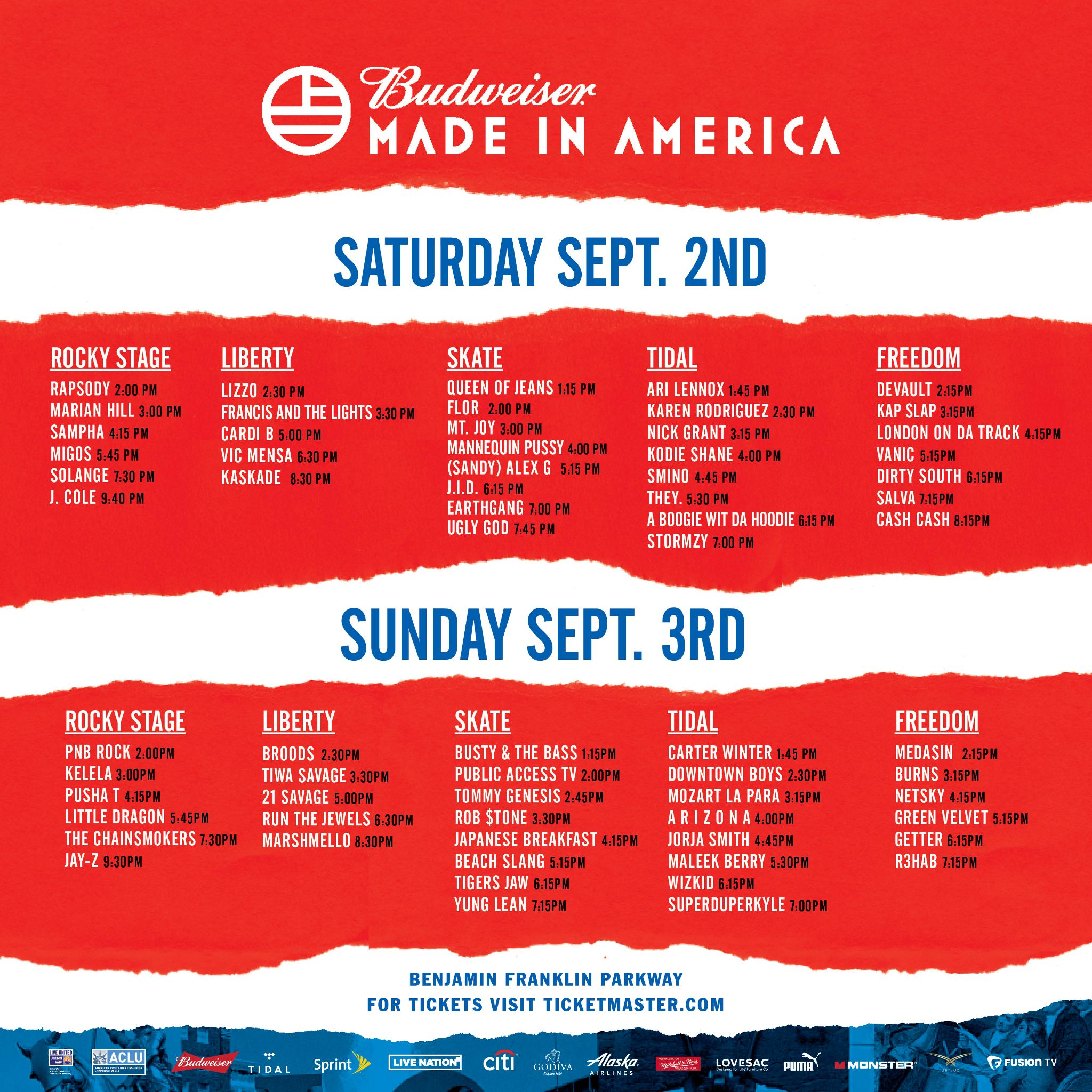 The @017 Budweiser Made In America schedule.