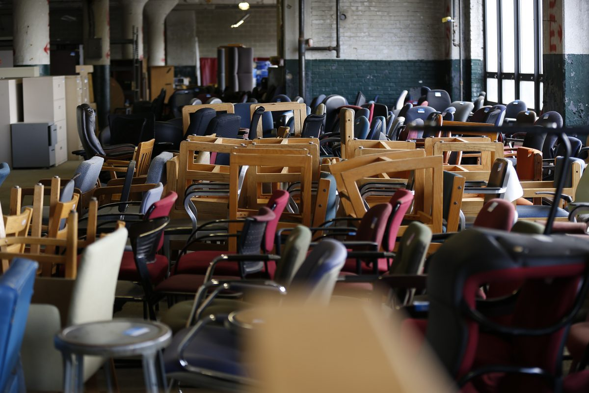 Used Items From Temple University Sit In A Warehouse. (DAVID MAIALETTI /  Staff Photographer)