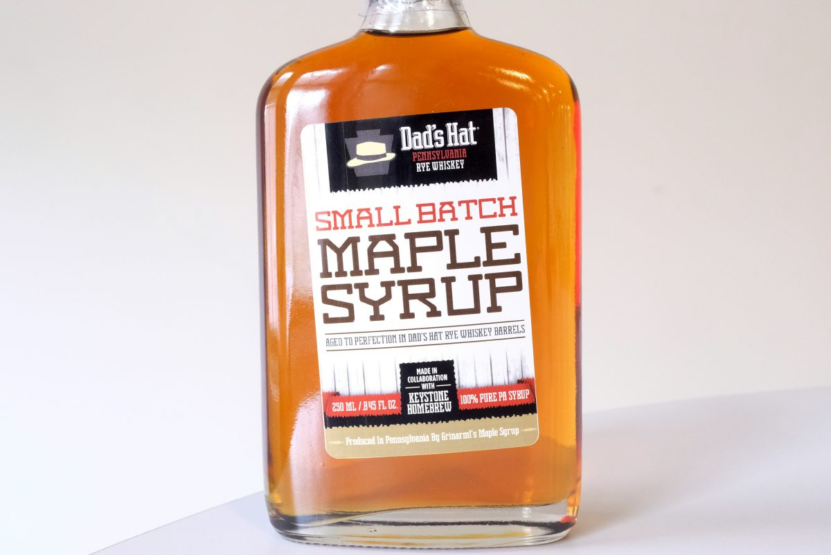 Small-batch maple syrup made with Dad's Hat whiskey.