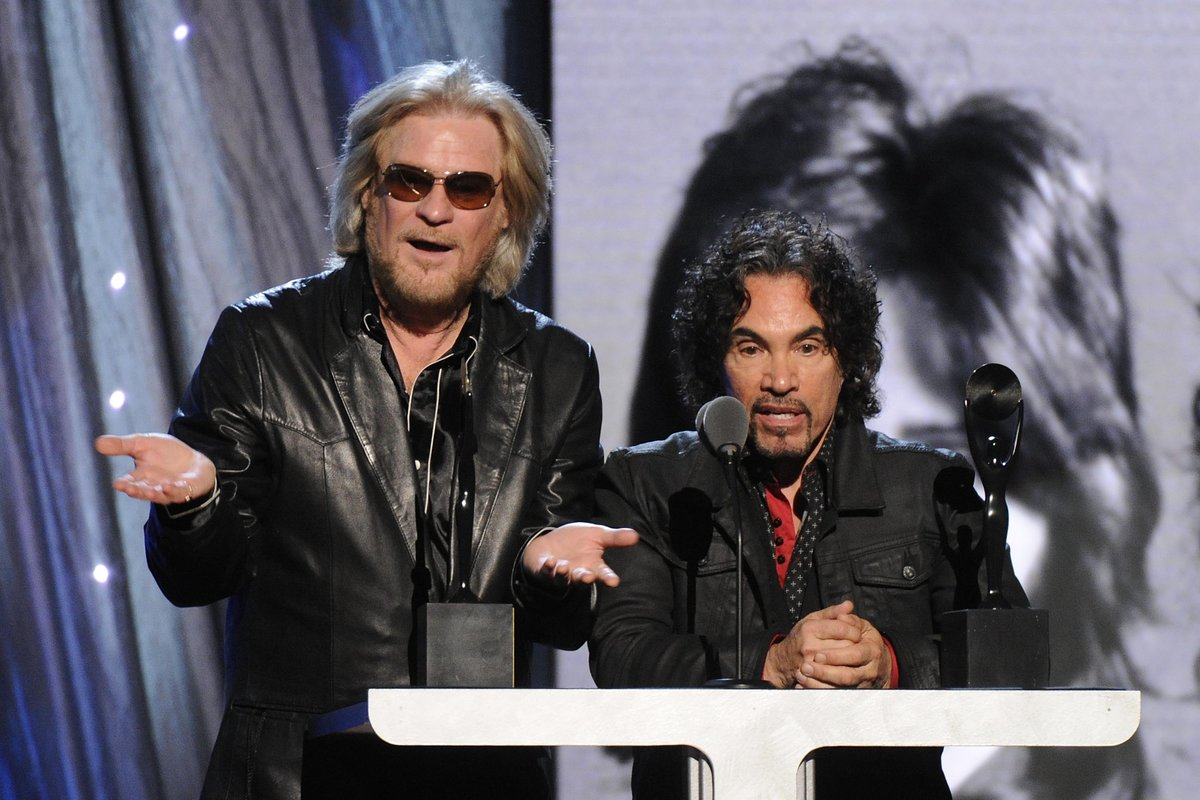 Hall of Fame Inductees, Hall and Oates, Daryl Hall and John Oates at the 2014 Rock and Roll Hall of Fame Induction Ceremony on Thursday, April, 10, 2014 in New York. (Photo by Charles Sykes/Invision/AP)