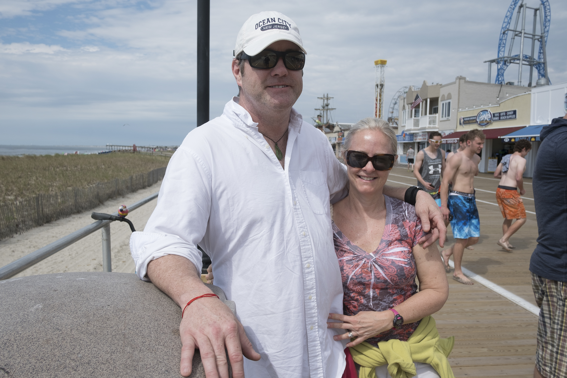 On the boardwalk in Ocean City, Kieran and Mimi Shea like the Shore so much they travel from Annapolis, Md.
