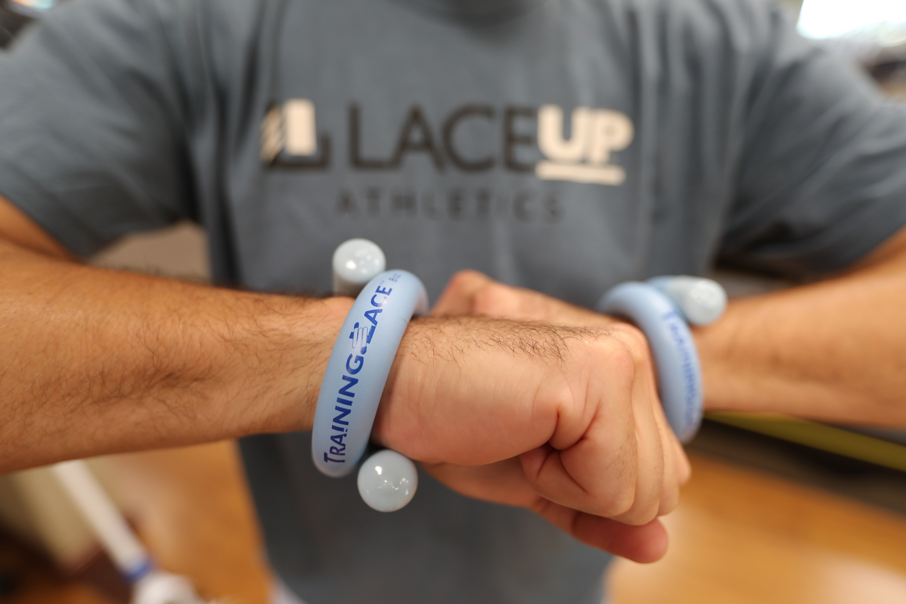 Jay Ciccarone wears a LaceUp weight. LaceUp -- thin, tubular, bendable, foam-based weights is designed for lacrosse sticks and are now also marketing for baseball and swimming, among other sports, and even physical therapy. DAVID SWANSON / Staff Photographer